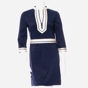 Tory Burch Blue & Metallic Tunic Dress Sz 0